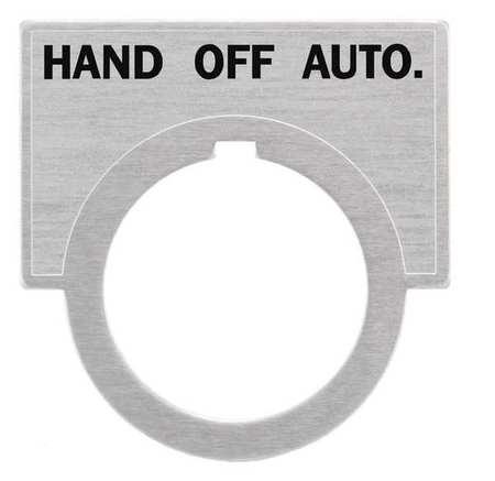 Legend Plate, Half Round, Hand-Off-Auto