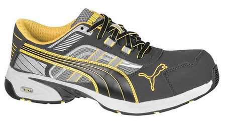Athletic Work Shoes, Comp, Mn, 6, Gry, PR