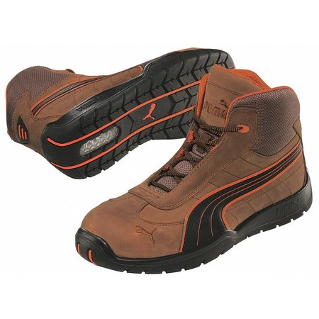 Athletic Work Boots, Stl, Mn, 11, Brn, PR