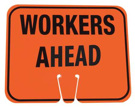 Traffic Cone Sign, Org/Blk, Workers Ahead
