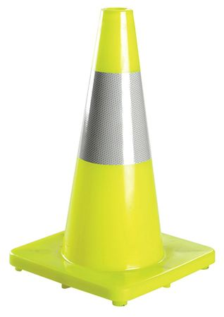 Traffic Cone, 18 In.Fluorescent Lime