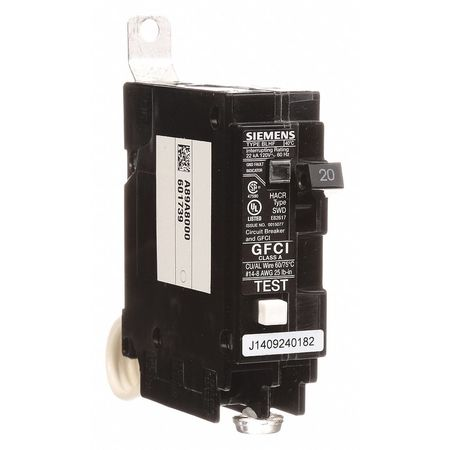 1P GFCI Bolt On Circuit Breaker 20A 120VAC