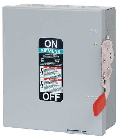 30 Amp 240VAC Single Throw Safety Switch 3P