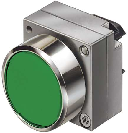 Push Button, 22mm, Flush Button, Green
