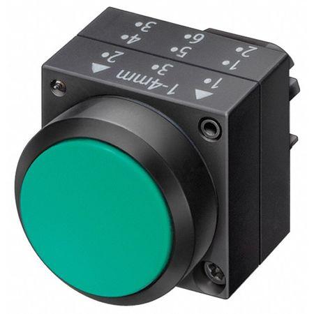 Push Button, 22mm, Flush Button, Green