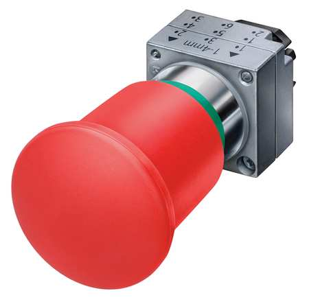Push Button, 22mm, 1.57 In. Mushroom, Red