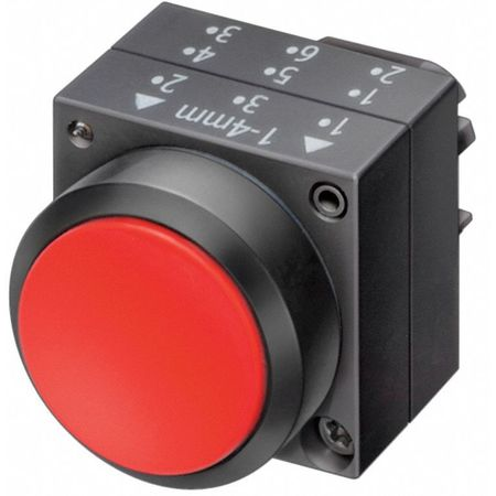 Push Button, 22mm, Flush Button, Red