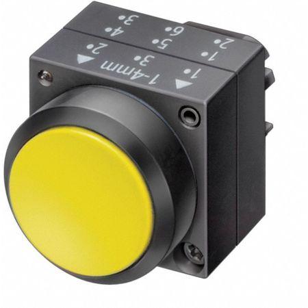Push Button, 22mm, Flush Button, Yellow