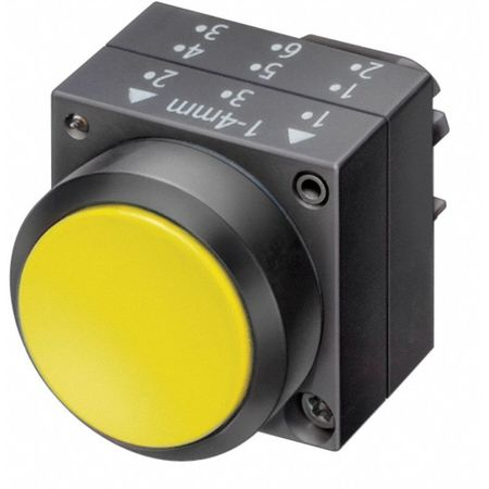 Push Button, 22mm, Flush Button, Yellow