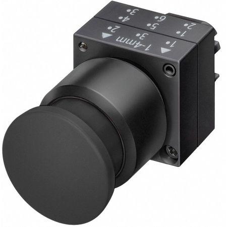 Push Button, 22mm, 1.18 In. Mushroom, Black