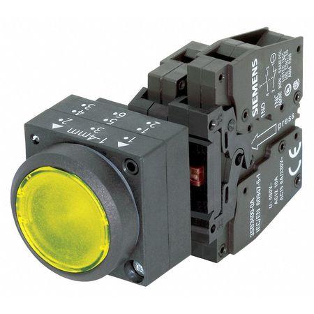 Illuminated Push Button, 22mm, Yellow