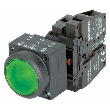 Illuminated Push Button, 22mm, Green