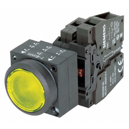 Illuminated Push Button, 22mm, Yellow
