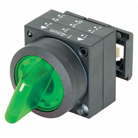 Illum Selector Switch, 2 Pos, 22mm, Green