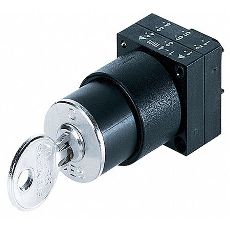 Non-Illum Selector Swtch, 22mm, 3 Pos, Keyd