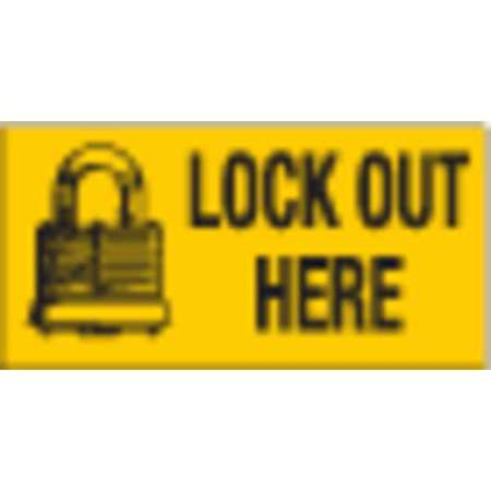 Lockout Sign, 2-1/4 x 4-1/2In, BK/YEL, ENG