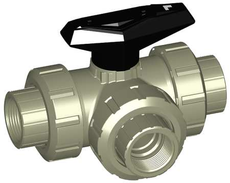 "3/8"" FNPT Polypropylene Ball Valve 3-Way True Union"