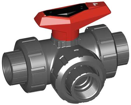 "1"" FNPT PVC Ball Valve 3-Way True Union"