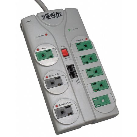 Datacom Surge Protector, 8 Outlet, Gray