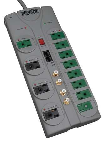 Datacom Surge Protector, 12 Outlet, Gray