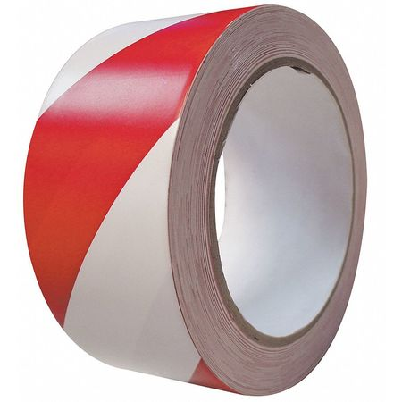 Marking Tape, Roll, 2InW, 108 ft., Red/White