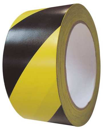 Tape, Roll, 2In, 108 ft., Yellow/Black