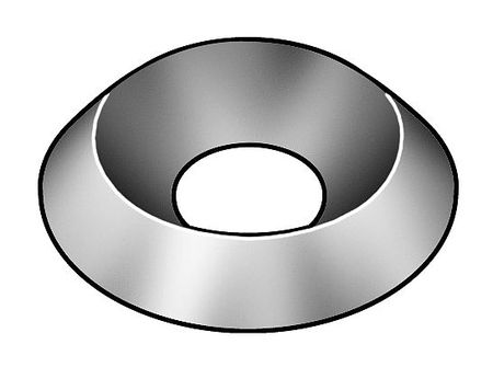 Countersunk Washer, Nickel, Fits #10, Pk100