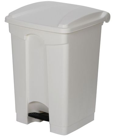 12 gal. White Plastic Square Fire-Resistant Trash Can
