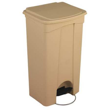 23 gal. Beige Plastic Rectangular Trash Can
