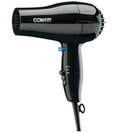Hairdryer, Handheld, Black, 1600 Watts