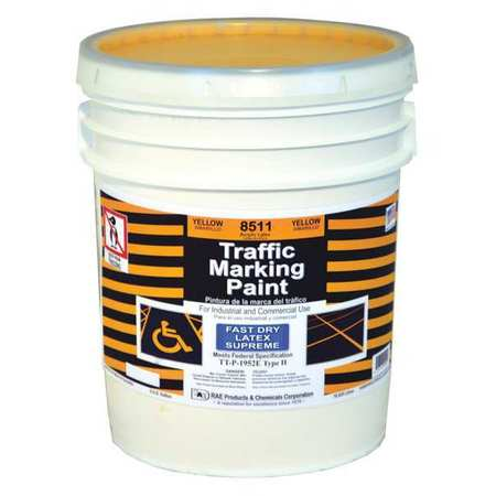 Traffic Marking Paint, Yellow, 5 gal