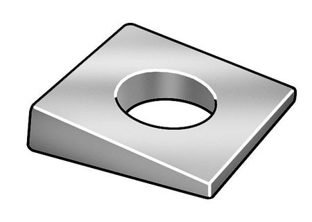 M22 Zinc Plated Finish Steel Square Beveled Washers,  5 pk.