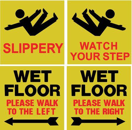 Floor Safety Sign,  Wet Floor,  Eng, PK4