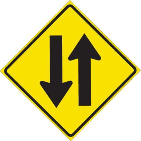 Traffic Sign, 24 x 24In, BK/YEL, ENGR GR AL