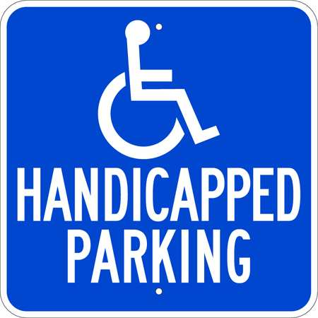 Handicap Parking Sign, Wht/Blue, 18x18