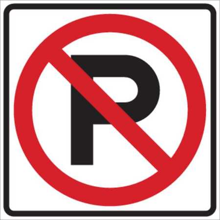 Parking Sign, 24 x 24In, R/WHT, SYM, R8-3A