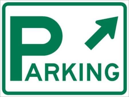 Parking Sign, 18 x 24In, GRN/WHT, PRKG