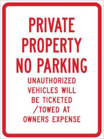 Parking Sign, 24 x 18In, R/WHT, ENGR GR AL