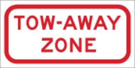 Parking Sign, 6 x 12In, R/WHT, ENGR GR AL