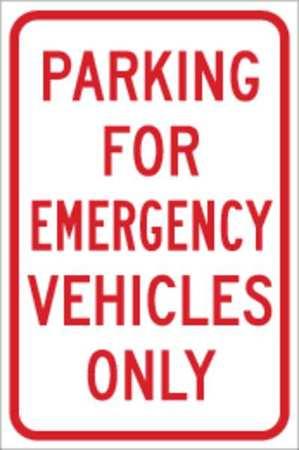 Parking Sign, 18 x 12In, R/WHT, ENGR GR AL