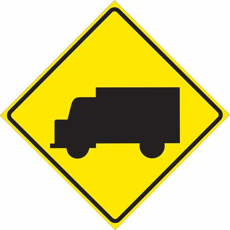 Traffic Sign, 30 x 30In, BK/YEL, SYM, W11-10