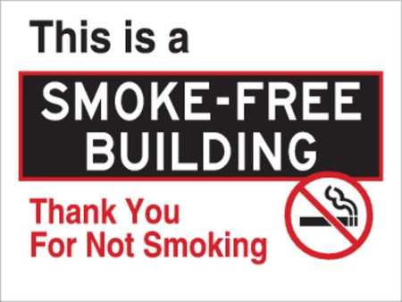 No Smoking Sign, 18 x 24In, R and BK/WHT