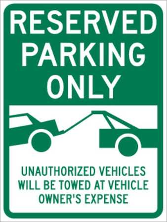 Parking Sign, 24 x 18In, GRN/WHT