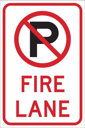 Fire Lane Sign, 18 x 12In, BK and R/WHT