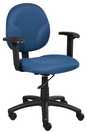 "Desk Chair,  Fabric Blue,  Height 33-1/2"" to 38"""