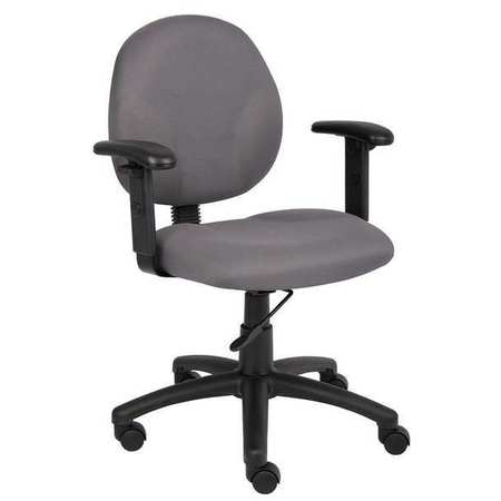 "Desk Chair,  Fabric Gray,  Height 33-1/2"" to 38"""