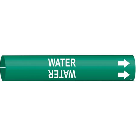Pipe Marker, Water, Grn, 1-1/2 to 2-3/8 In