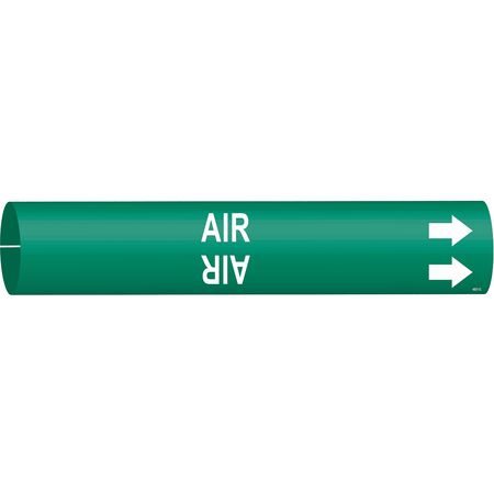 Pipe Marker, Air, Green, 2-1/2 to 3-7/8 In
