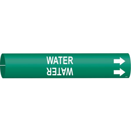 Pipe Marker, Water, Grn, 2-1/2 to 3-7/8 In