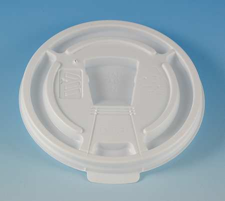 Lid for 8 to 10 oz. Hot Cup,  Flat,  Lock Back Tear Tab,  White,  Pk1000